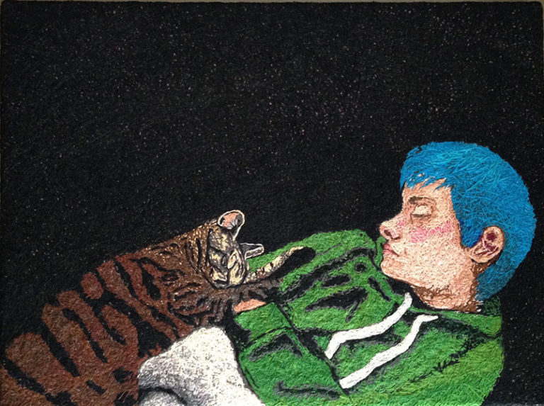 Boy Napping with Cat